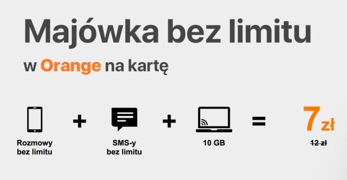 Majówka bez limitu w Orange na kartę (27 kwietnia – 6 maja 2018 r.)