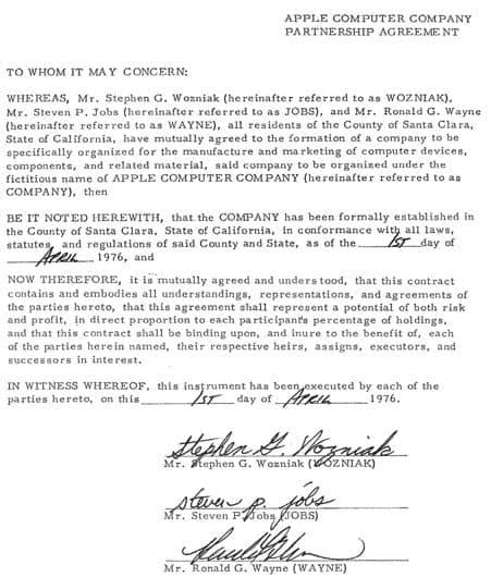 Umowa partnerska Apple miedzy Wozniakiem, Jobsem i Waynem z 1 kwietnia 1976 roku