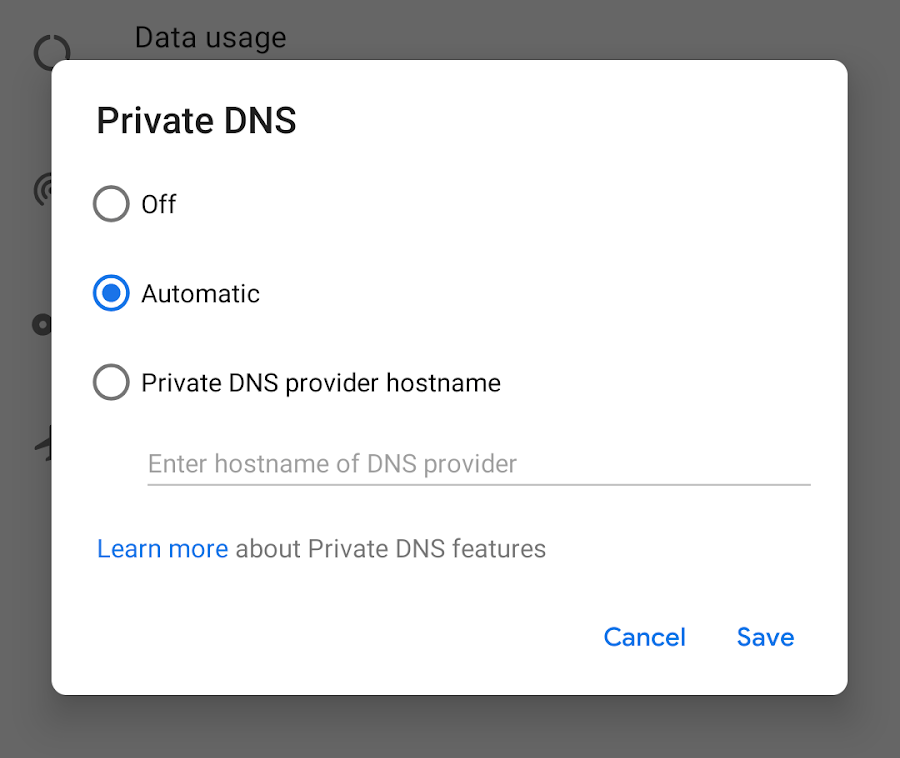 Prywatny DNS – Android P