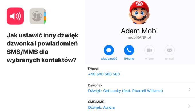 Jak ustawić osobny dźwięk dzwonka i SMS dla kontaktu na iPhone'ie?
