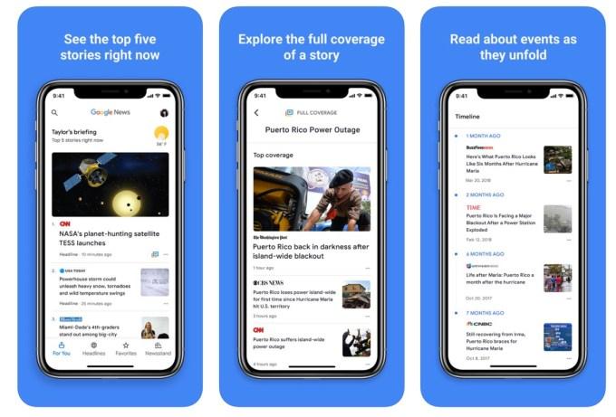Zrzuty ekranu aplikacji Wiadomości Google (Google News)