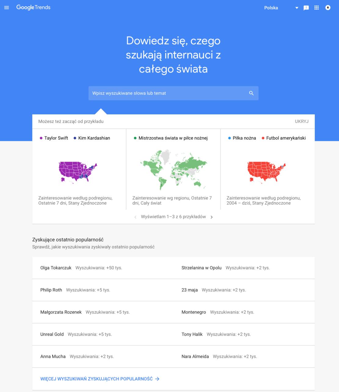 Zrzut ekranu nowego interfejsu serwisu Google Trends