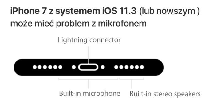 iPhone 7 (system iOS 11.3 lub nowszy) a działanie mikrofonu