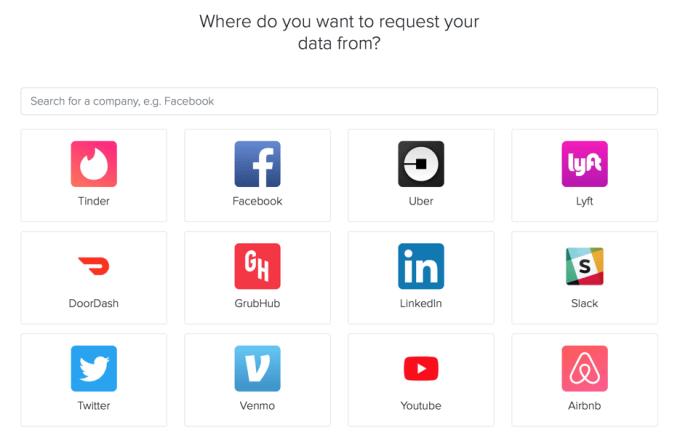 """Zrzut ekranu z serwisu """"My Data Request"""""""