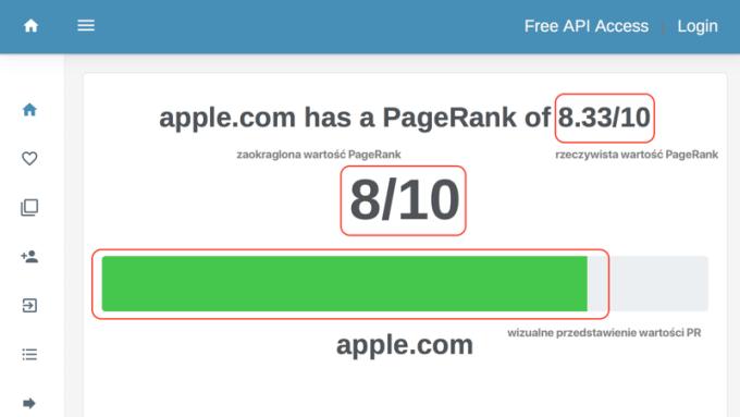 Wynik OPR dla apple.com (oznaczenia)