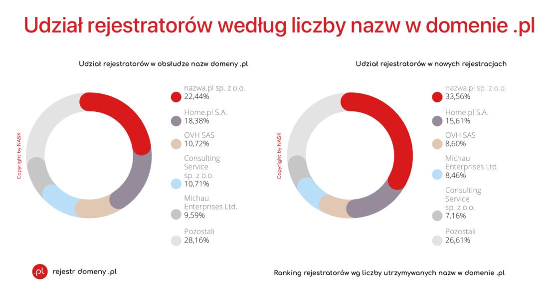 Udział rejestratorów wg liczby nazw w domenie .pl
