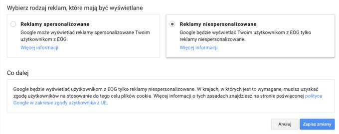 Ustawienie wszystkich reklam niespersonalizowanych w Google Adsense