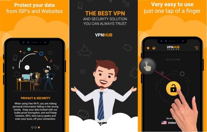 Zrzuty ekranów aplikacji mobilne VPNhub