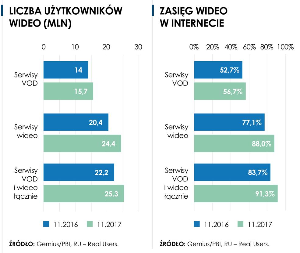 Liczba użytkowników i zasięg wideo w internecie