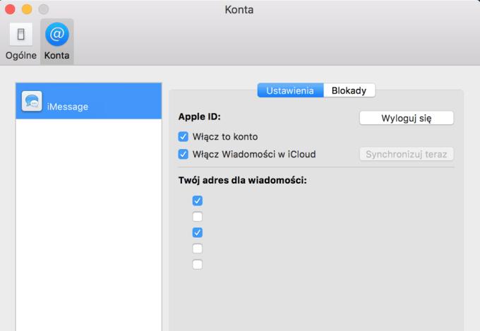 Preferencje Wiadomości macOS 10.13.5 (iCloud)