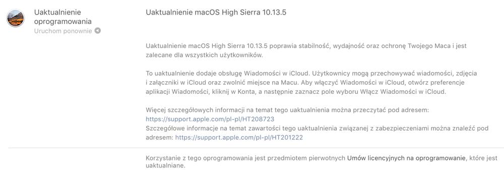 Uaktualnienie macOS High Sierra 10.13.5 – szczegóły