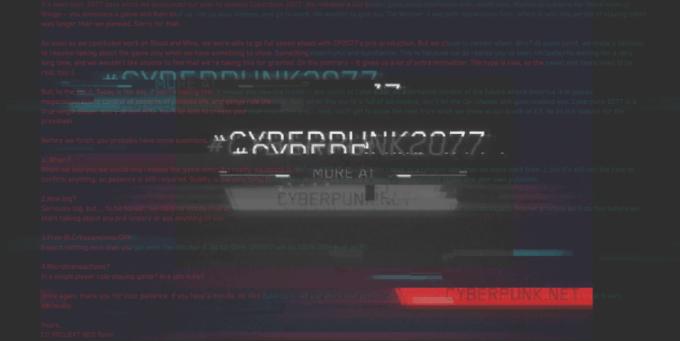 Ukryta wiadomość w zwiastunie Cyberpunk 2077