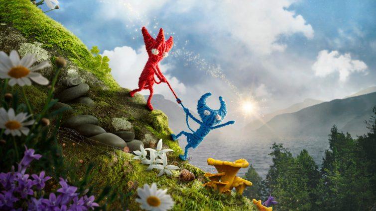 Czerwony i niebieski Yarny z Unravel 2