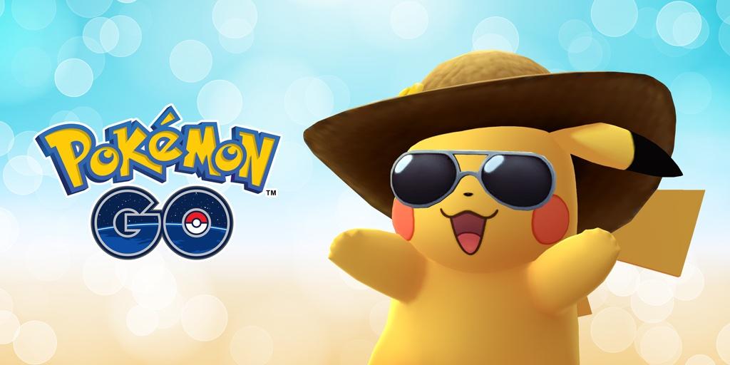 Pikachu w słomkowym kapeluszu i okularach przeciwsłonecznych (2. urodziny Pokemon GO)