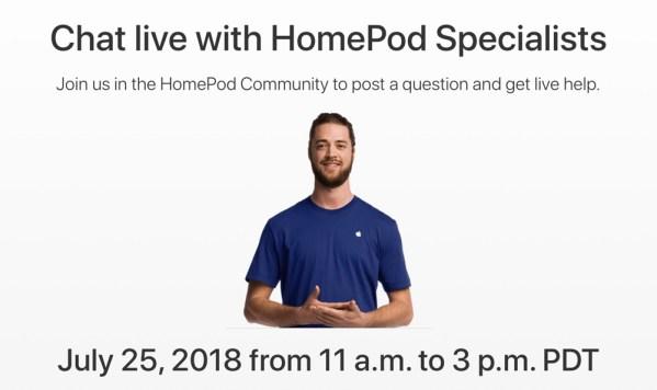 Czat ze specjalistami Apple od HomePoda (25 lipca 2018 r.)