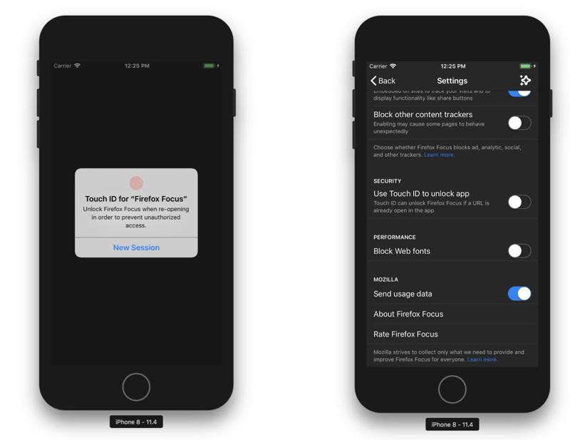 Blokada biometryczna w przeglądarce Firefox Focus na iOS-a
