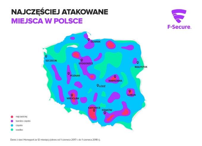 Najczęściej atakowane przez hackerów miejsca w Polsce 2017/2018