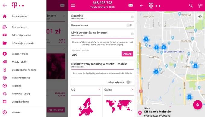 "Screeny z aplikacji ""Mój T-Mobile"" (beta) na Androida"