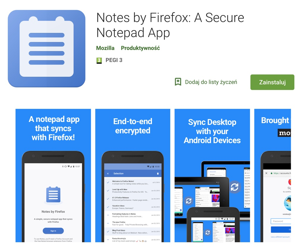 Notes by Firefox (Google Play screen)