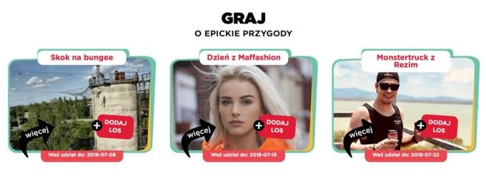 Przykładowe nagrody w loterii WOAH 2018 od Coca-Coli