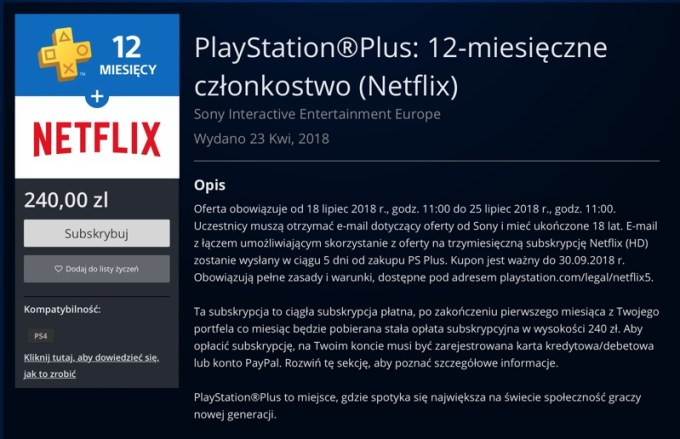 PS Plus + Netflix screen z Playstation Store