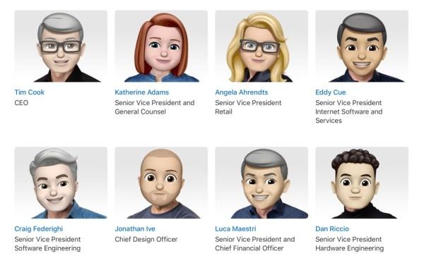 Zarząd firmy Apple dzisiaj w postaci Memoji
