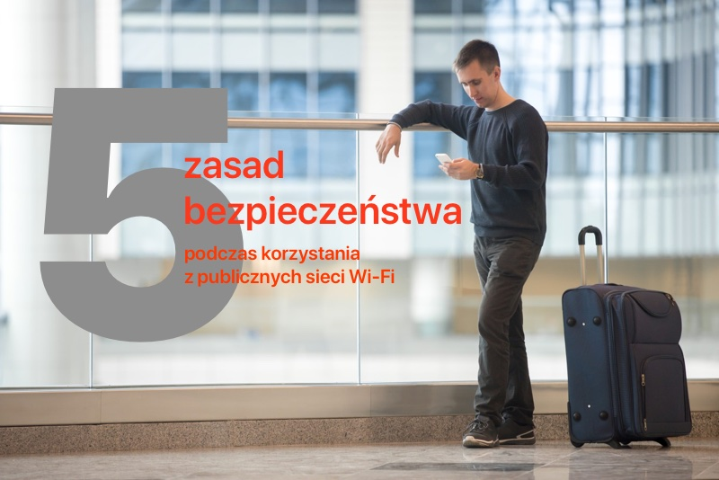 5 zasad bezpieczeństwa podczas korzystania z publicznych sieci Wi-Fi (podróżnik z walizką)