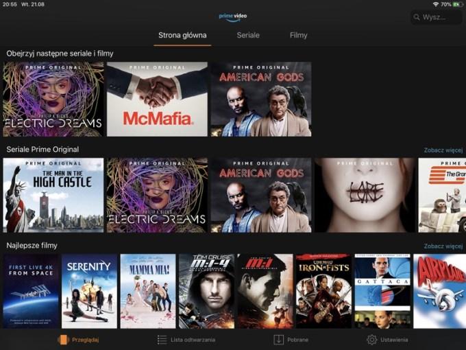 Screen z aplikacji mobilnej Amazon Prime Video (polska wersja językowa)