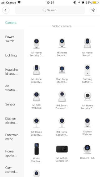Wybór modelu kamery Xiaomi Chuangmi w aplikacji Mi Home
