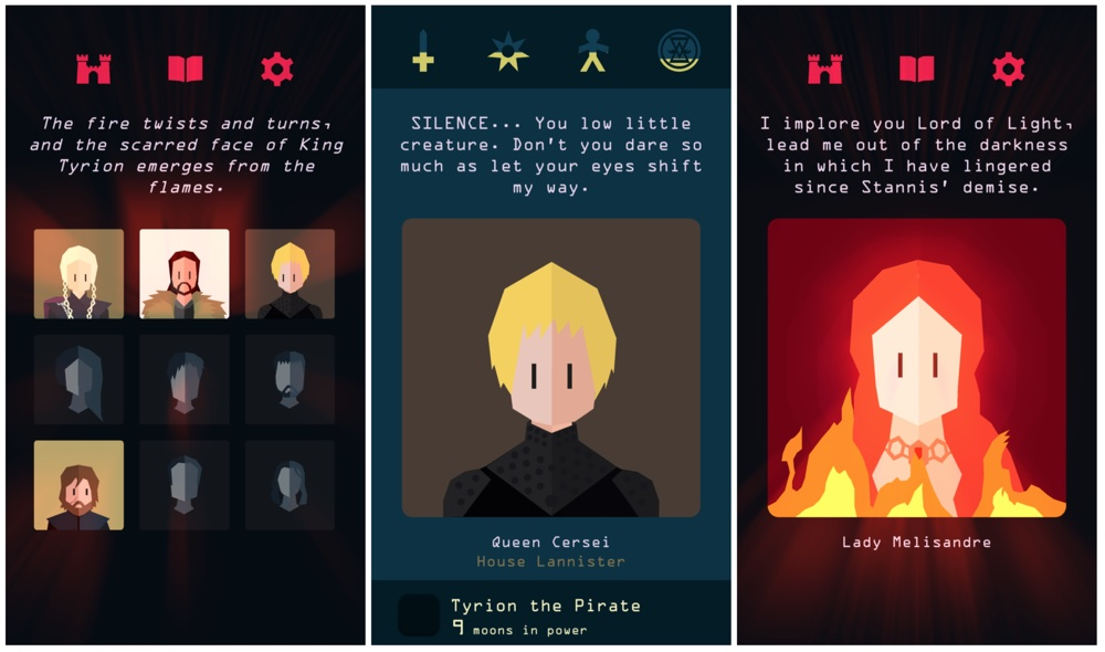 """Screeny z gry """"Reigns: Game of Thrones"""""""