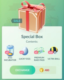 Special Box on sale Pokemon GO (8/2018)