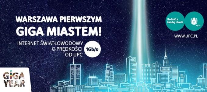Internet światłowodowy do 1 Gb/s w Warszawie od UPC