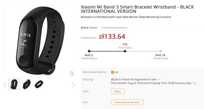 Xiaomi Mi Band 3 (przedsprzedaż w GearBest)