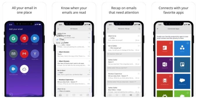 Zrzuty ekranu z aplikacji mobilnej Newton Mail (iOS)