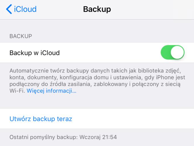 Utwórz backup w iCloud (iPhone screen)