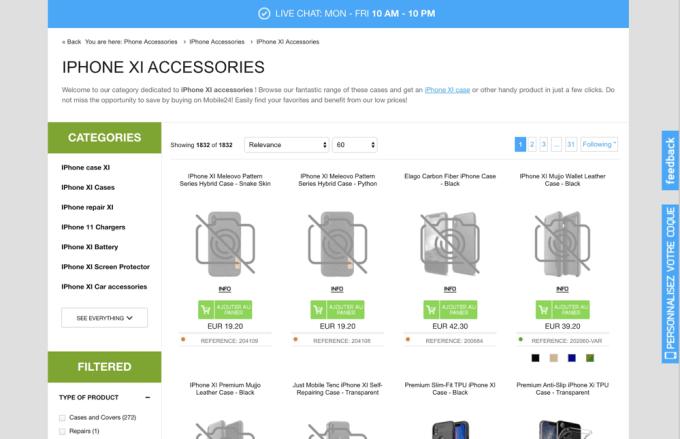Akcesoria dla iPhone'a XI - zrzut ekranu ze strony