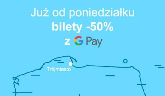 """Akcji promocyjna """"50% taniej z Google Pay w JakDojadę"""""""