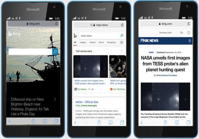 Strony AMP w wynikach wyszukiwania Bing