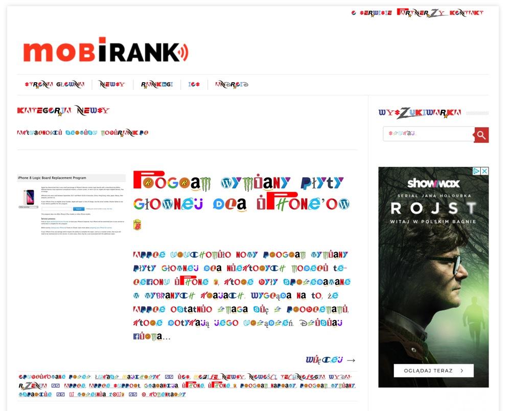 Strona mobiRANK.pl z czcionką Brand New Roman