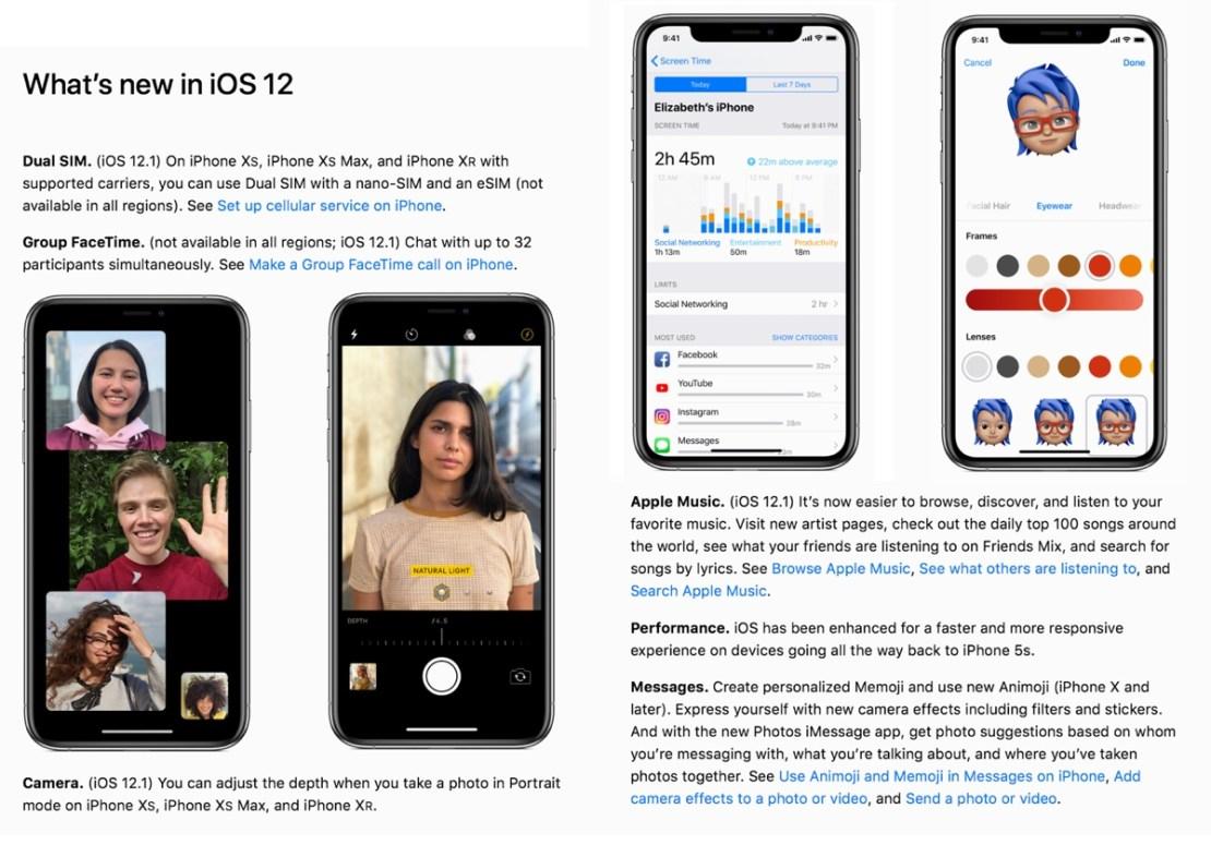 iPhone User Guide with iOS 12.1 – zrzut ekranu