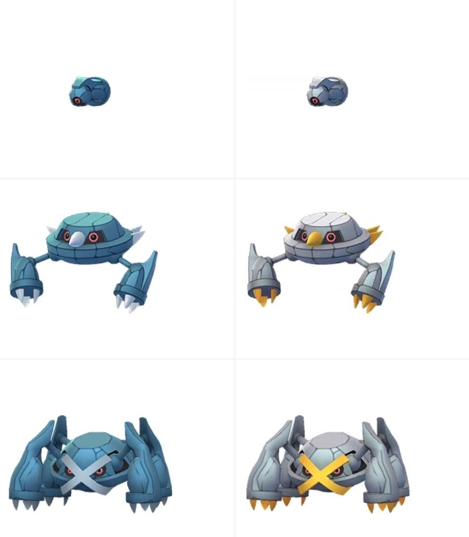 Beldum, Metang i Metagross w wersji normalnej (po lewej) i shiny (po prawej)