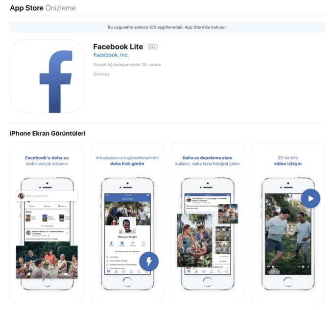 Facebook Lite na iOS-a (App Store Turcja)