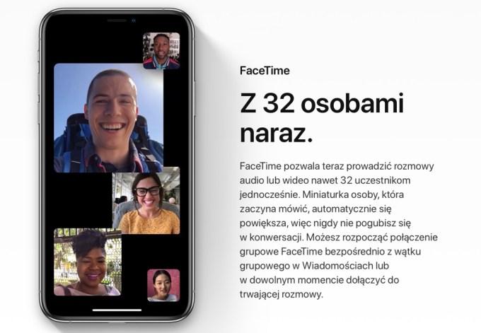 FaceTime grupowy z 32 osobami (iOS 12.1)