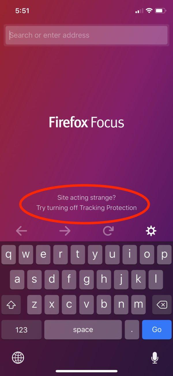 Firefox Focus - ekran startowy