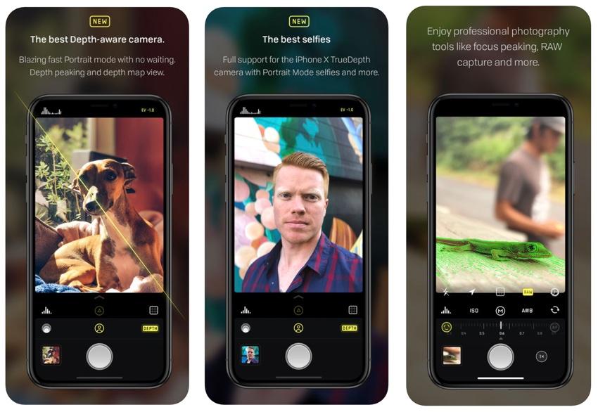 Zrzuty ekranu z aplikacji Halide Camera