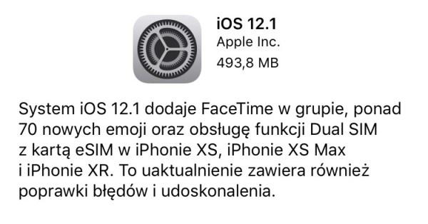 Co nowego w uaktualnieniu iOS 12.1?