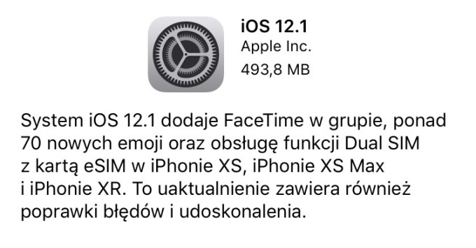 iOS 12.1 update w trybie OTA (iPhone/iPad)