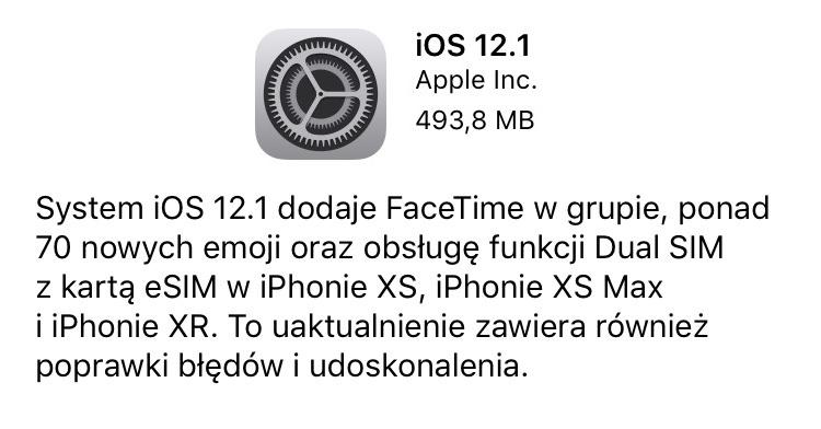 iOS 12.1 update w trybie OTA (iPhone/iPad)