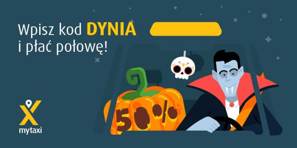 """Tańsze przejazdy myTaxi z kodem """"DYNIA"""" na Halloween"""