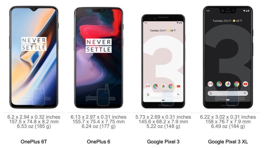 Wymiary OnePlus 6T vs. OnePlus 6 i Google Pixel 3 i 3 XL